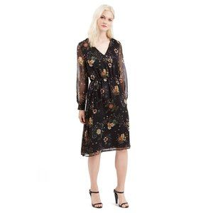 Topshop Black Floral long sleeve Midi Dress size 8